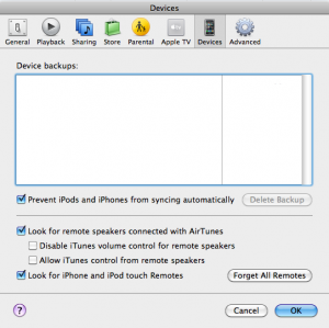 iTunes Preferences--Devices